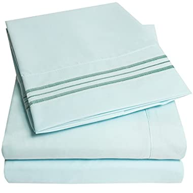 1500 Supreme Collection Extra Soft Queen Sheets Set, Light Blue - Luxury Bed Sheets Set With Deep Pocket Wrinkle Free Hypoallergenic Bedding, Over 40 Colors, Queen Size, Light Blue