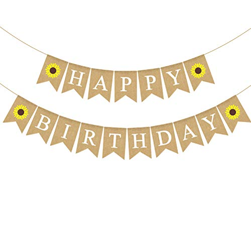 Jute Burlap Happy Birthday Banner with Sunflower Birthday Party Bunting Garland Decoration