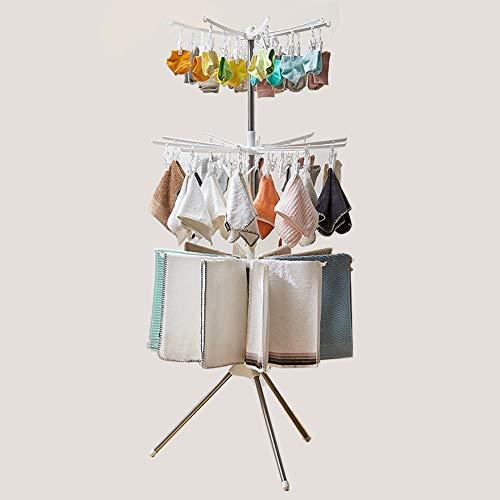 Airer 3 lagen Baby paraplu drogen rek, Outdoor of Indoor Uitschuifbare Vloerstaande RVS Airer touw roterende hanger voor sokken Handdoek kleding in balkon tuin voor Baby vellen