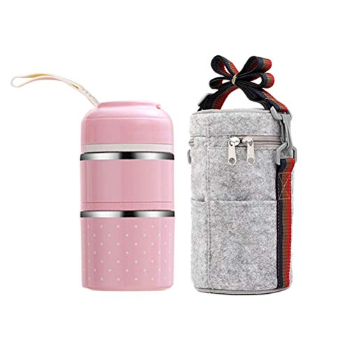 2Pcs/Pack Portable Cute Stainless Steel 2-layer Insulation Lunch Bento Box Food Carrier Container with Lunch Bag (Pink) Best Partner For Lunch
