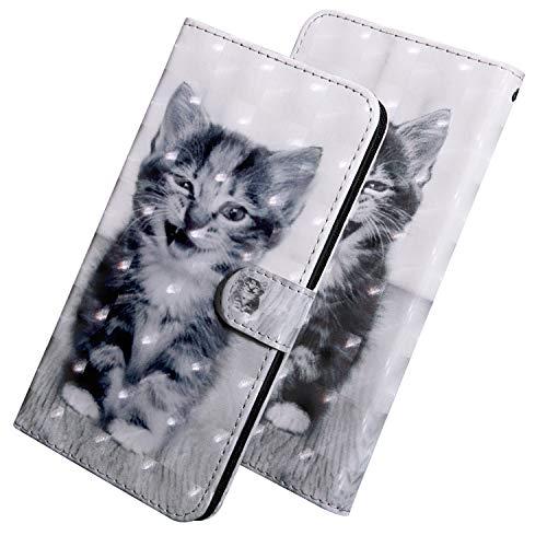 ShinyHülle PU Leder Handyhülle für LG Q7/Q7 Plus/Q7a Folio Tasche Glattes Muster Glitter 3D Bunt Brieftasche Wallet Flip Ledertasche im Brieftasche-Stil Lächelnde Katze Muster Handytasche für LG Q7