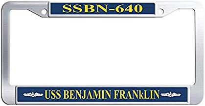 Hensteelna USS Benjamin Franklin SSBN-640 License Plate Covers U.S. Navy Naval Vessel Stainless Steel Car Auto Tag Frame (1 pic, 6' x 12' in)
