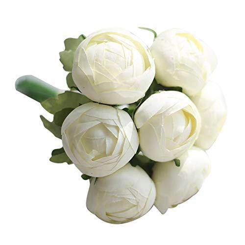 HYLZW Künstliche Blume Topfpflanze Künstliche 7 Köpfe Bouquet Real Touch Blumen Ranunkel Gefälschte Simulation Blume Nach Hause Jäten Weihnachtsdekoration