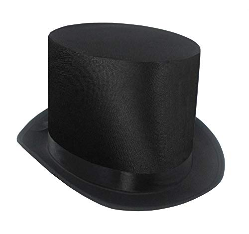 Tall Black Satin Finish Top Hat - Deluxe Formal Tuxedo High Crown Top Hat - Dress Up Accessory for Roaring 20s Party, Magician, Circus Ringmaster, Steampunk & Victorian Era Costume Accessory, One Size