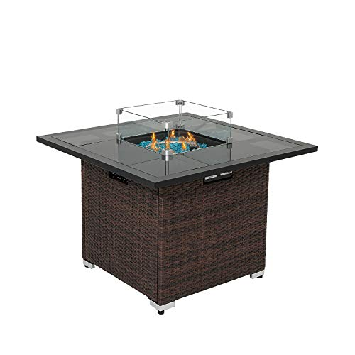 HOMPUS Outdoor Propane Gas Fire Pit Table 36-Inch 40,000 BTU Square PE Wicker Patio Fire Place w Glass Wind Guard, Waterproof Cover and Free Fire Glass, Internal Tank Storage, Brown
