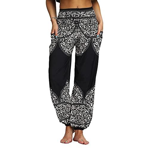 QTJY Pantalones Casuales de Moda para Mujer, Pantalones Harem Sueltos, Pantalones Hippie Bohemios, Pantalones de Yoga Suaves con Cintura Alta y pula fluidos, K M