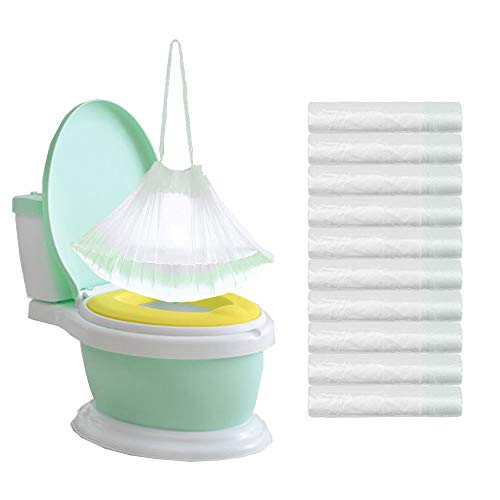 100 Pack Potty Chair Liners Disposable,Drawstring Training Toilet Seat Liner Bags Cleaning Bag for Kids Toddlers Outdoors Travel