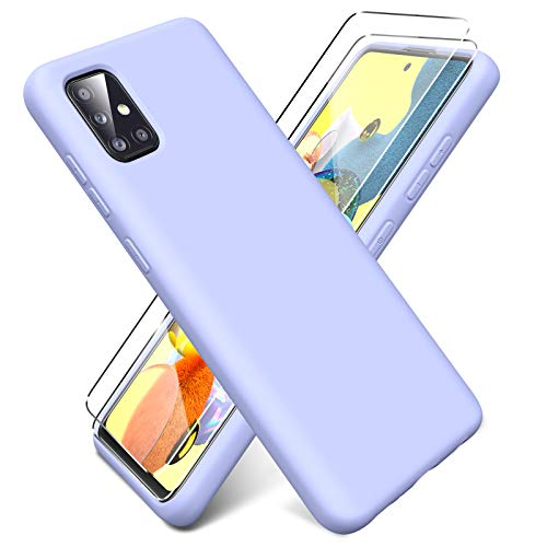 Oududianzi - Funda para Samsung Galaxy A51 5G + [2 Pack] Protector Pantalla, Carcasa de Silicona Líquida Gel Ultra Suave Funda con tapete de Microfibra Anti-Rasguño - Púrpura