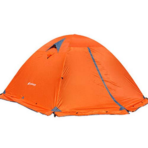 Outdoor Tent Camping Tent Outdoor 2 People Double Aluminum Pole Windproof Rainstorm With Snow Skirt Field Account Orange