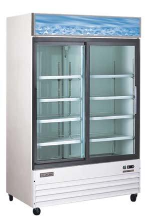 Omcan 24272 Commercial Reach In Refrigerator 53 inch 2 Door Swing Glass Cooler
