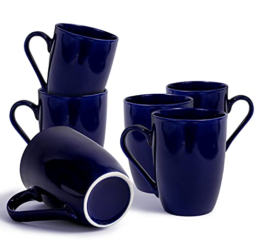 WHEE! Porcelain Coffee Mugs Set of 6 - Navy Blue Coffee Mugs with Handle for Men, Woman, Birthday....