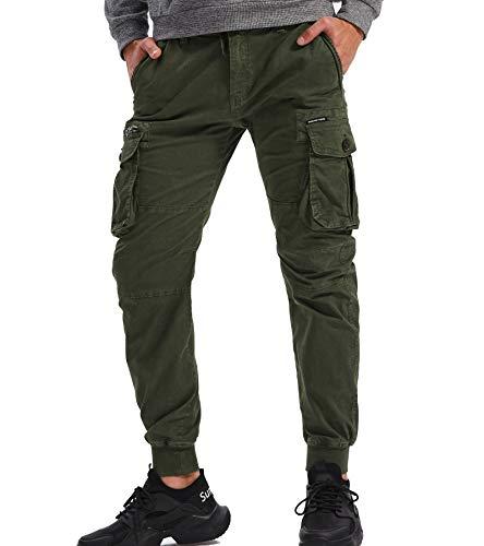 AYG Camouflagehose für Herren, Cargo-Stil, Combat-Hose, Arbeitshose, 28-38 44 armee-grün