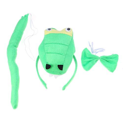 TOYANDONA Disfraz de dinosaurio para disfraz, colas de dragn, diadema, accesorios para el pelo, cosplay, animales, fiesta, 3 en 1