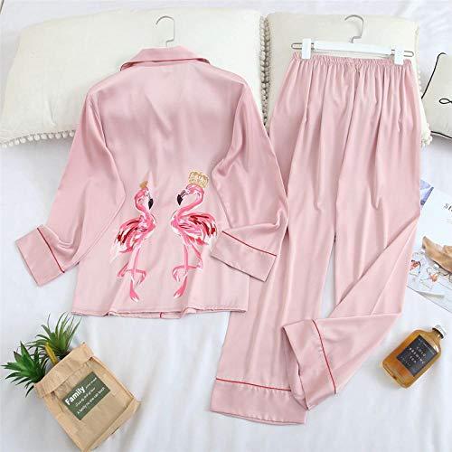 STJDM Bata de Noche,Ropa Interior de Manga Larga Primavera womwn pejamas Pijamas Invierno Mujer Seda Pijama Flamingo Satin Pijamas Conjuntos Conjuntos XL pinkset