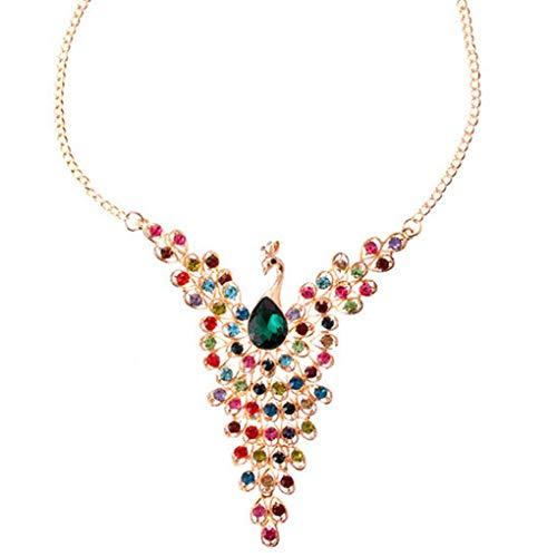 Collar del Collar del Pavo Real del Rhinestone Mujeres Conijiwadi Bird con Cuentas ala aleación de Zinc Y Babero
