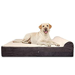 KOPEKS 7-inch Thick High Grade Orthopedic Memory Foam Dog Bed with Pillow and Easy to Wash Removable Cover with Anti-Slip Bottom