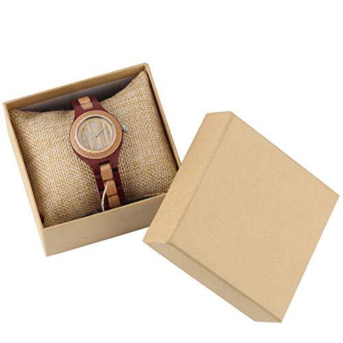 RWJFH Reloj de Madera Vintage Fashion Ladies Relojes de Madera Movimiento de Cuarzo Reloj de Pulsera con Brazalete de Madera Elegante Números Romanos Display Relojes de Mujer, Modelo 1 con Caja
