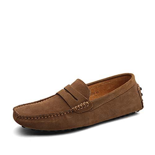 DUORO Herren Klassische Weiche Mokassin Echtes Leder Schuhe Loafers Wohnungen Fahren Halbschuhe (44 EU, Khaki)