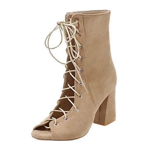 AMUSTER Frauen Casual High Heel Schuhe mit Hohen Absätzen Mode Elegant Retro Schuhe Arbeitsschuhe Schnalle Sandalen Sommer Schuhe