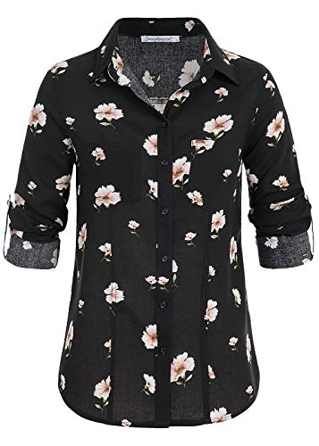 Seventyseven Lifestyle Damen Turn-Up Bluse Blumen Print 2 Brusttaschen schwarz rosa, Gr:L