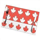 Tovaglietta Tovagliette Set 6 pezzi in acero rosso con bandiera canadese Placemat 30X45CM
