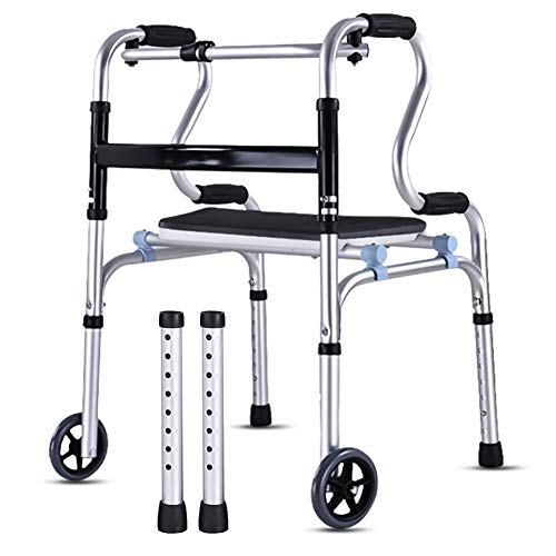 Morimoe Folding Walker with Wheels and seat,Detachable,Toilet Safety Frames,Rise Up Easy