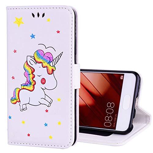 Ledertaschen Huawei Huawei p10 Glitter Puder Einhorn Muster horizontale flip Leder case mit Halter &...