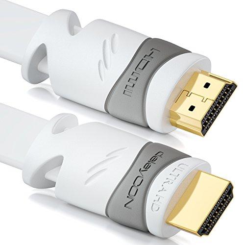 deleyCON 10m Câble HDMI Plat - Compatible avec HDMI 2.0/1.4 - UHD 4K 3D 1080p 2160p Arc - Haute Vitesse avec Ethernet - Blanc
