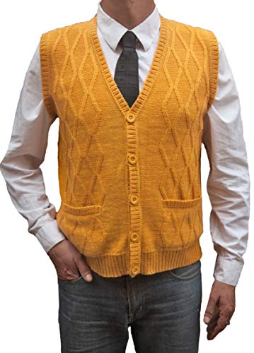 TINKUY PERU - Peruvian Alpaca Wool - Vest for Men Basic V Neck Button Up Cardigan Sweater (X - Large, Mustard)