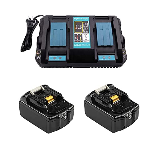 Ersatz 4A DC18RD Doppel-Ladegerät mit 2X Akku 18V 5.0Ah für Makita Rasenmäher DLM380Z DLM431Z Kettensäge DUC353Z Gebläse DUB362Z DUB361Z Staubsauger DCL180Z Winkelschleifer DGA511Z Batterie