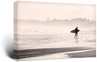 wall26 – Canvas Wall Art Sports Theme – Man Walking Down The Beach a Surfing..