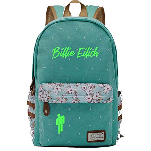 AFHB Verde luminoso Billie Eilish Girls Schoolbags per studenti delle scuole primarie e medie Zaino casual da donna Zaino da viaggio Zaino portatile (13)
