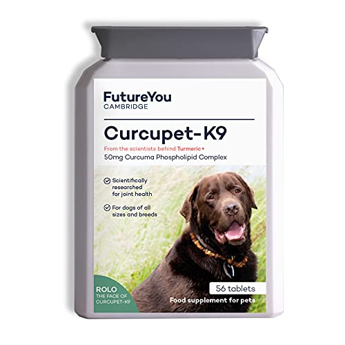 FutureYou Cambridge Curcupet-K9 Turmeric for Dogs - 56 Tablets - Highly Absorbable Joint Health Supplement with Patented Curcumin Formulation - Developed, UK