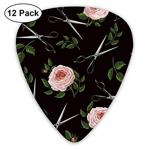 Gitaar Pick Roses En Schaar Vector Afbeelding 12 Stuk Gitaar Paddle Set Gemaakt Van Milieubescherming ABS Materiaal, Geschikt voor Gitaren, Quads, Etc