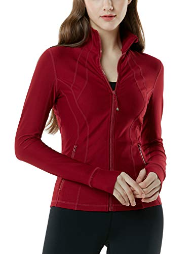 TSLA Women's Yoga Lightweight Active Performance Running Track Jacket, Full-Zip(fyj01) - Wine, X-Small