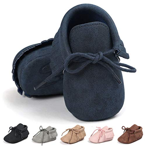 Baby Loafers Boys Girls Infant Shoes Soft Sole Tassels Moccasins Anti-Slip Crib Shoes(12-18 Months M US Toddler,A-Dark Blue)