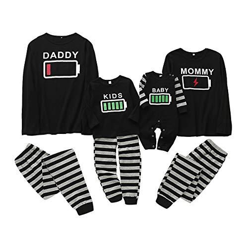 puseky Familie passende Kleidung Pyjamas Set Batterie drucken Nachtwäsche Nachtwäsche für Papa Mama Kinder Baby