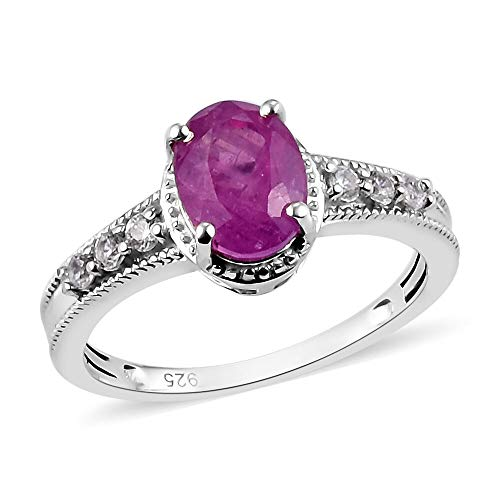 TJC Pink Sapphire Solitaire Ring for Women in Platinum Plated 925 Sterling Silver Christmas Gift/Engagement Jewellery Size O with White Zircon, TCW 2.24ct