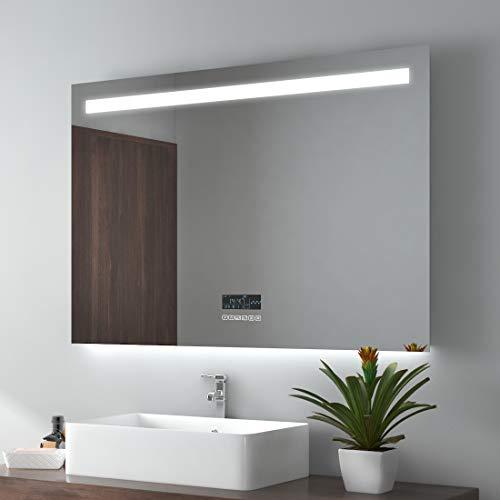 Espejo de baño EMKE con iluminación, Espejo de Pared, Espejo de baño 100x70cm con Altavoz Bluetooth 4.1, Interruptor táctil, Reloj Digital