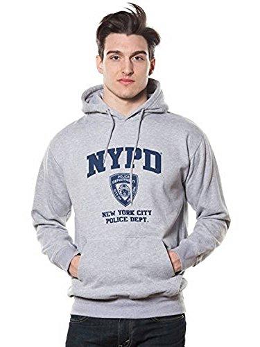 NYPD Oxford-Kapuzenpullover für Erwachsene, Grau mit Marineblau, Herren, grau, Large