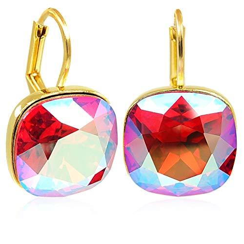 Ohrringe Gold Pink Rot mit Kristalle von Swarovski® Light Siam Shimmer NOBEL SCHMUCK