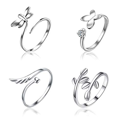 SwirlColor Adjustable Rings for Women Girls, Open Finger Rings Wing Butterfly Dragonfly Leaf Ring 4pcs, with Jewelry Box 1pcs