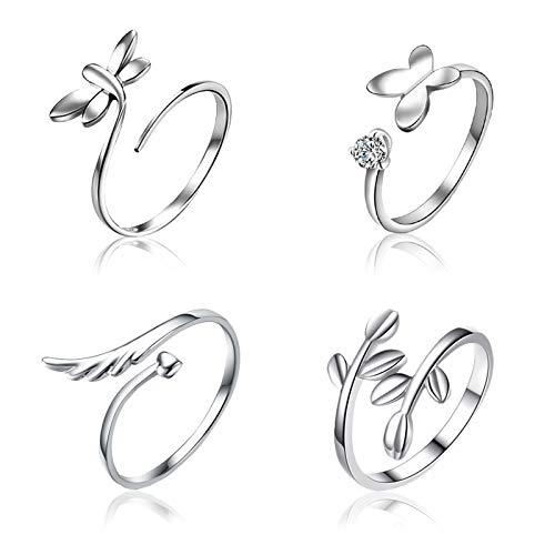 SwirlColor Ring Verstellbar, Offene Fingerringe Silber Ringe Flügel Schmetterling Libelle Blatt Ring 4 Stücke, Mit Schmuckschatulle 1Stück