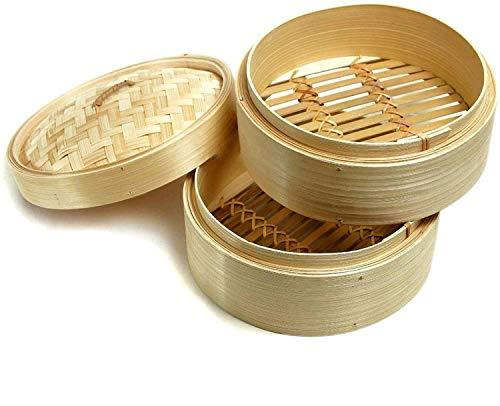 Aurora Store Vaporiera cestelli per Cottura a Vapore in Legno Naturale di Bambu' Diametro 15 cm, Altezza Singolo cestello 5cm, Altezza Totale 13cm Bamboo