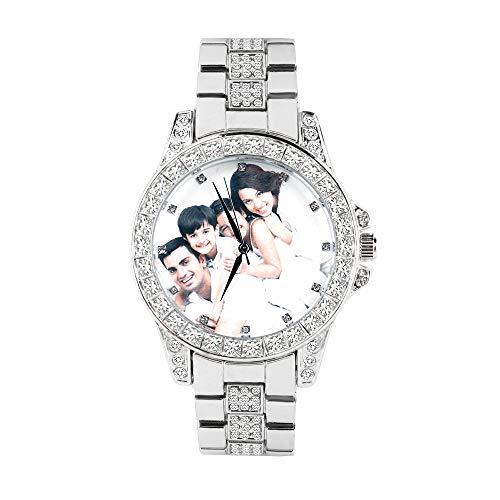 xHxttL Relojes de Diamantes Hombres Mujeres Relojes de Pulsera con Imagen Personalizada Foto Bling Bling Rhinestone Banda de Metal Dial Redondo Pulsera de Cuarzo Reloj de Pulsera