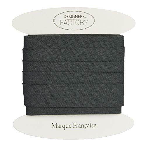 designers-factory Schrägband aus Baumwolle, einfarbig, schöne Qualität größere – Schrägband aus Baumwolle (Um 5 Meter, Anthrazitgrau)