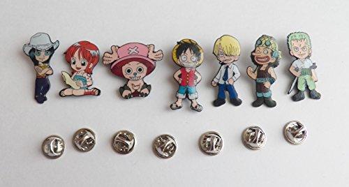 7 Anime One Piece Pirates Luffy Nami Zoro Sanji Chopper Metal Pin Badge Set