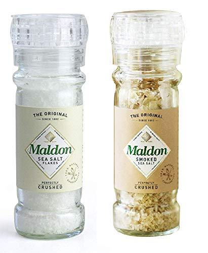 Molinillo de sal marina y sal ahumada de Maldon