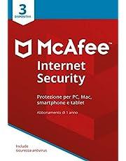 McAfee Internet Security 3 Dispositivi | Abbonamento di 1 anno | PC/Mac/Smartphone/Tablet | Codice di attivazione via posta