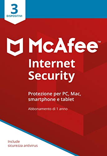 McAfee Internet Security 3 Dispositivi | Abbonamento di 1 anno | PC/Mac/Smartphone/Tablet | Codice di attivazione via posta